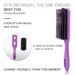 4Pcs Hair Brushes for Women - Hair Brush Comb Set for Women Great on Wet Or Dry Hair, No More Tangle Hairbrush for Long Thick Thin Curly Natural Hair (Purple)