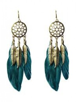 Young & Forever mothers day gift for mom Angelic Collection Vintage Feather Boho Feather Dreamcatcher Earrings For Women & Girls