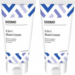 Solimo 2-In-1 Shave Cream, Fragrance Free, 6 Fl. Oz. (Pack Of 2)